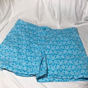 Crown & Ivy Teal Elephant Shorts